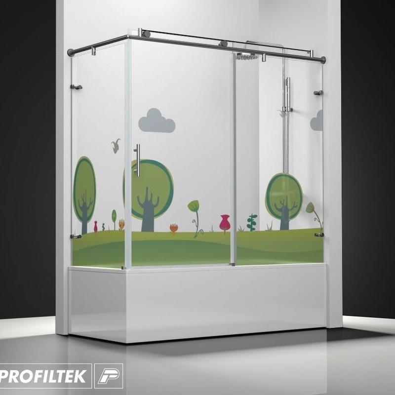 Mampara de baño Profiltek serie Steel mod. ST-101 Classic decoración kids