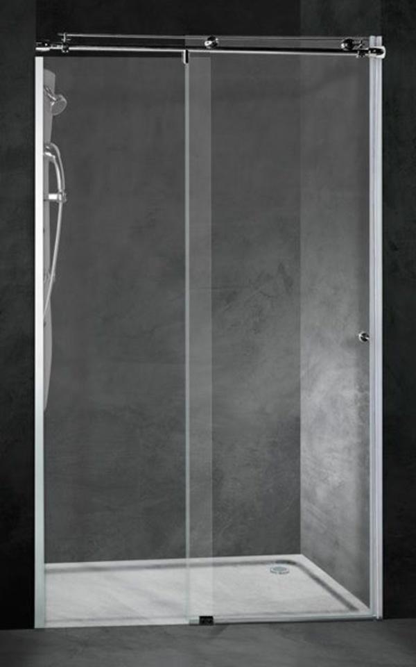 Mampara frontal ducha Inox-Asari (1 hoja fija + 1 corredera)