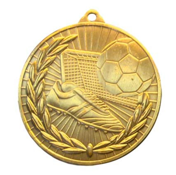Medalla de fútbol 50mm oro brillo