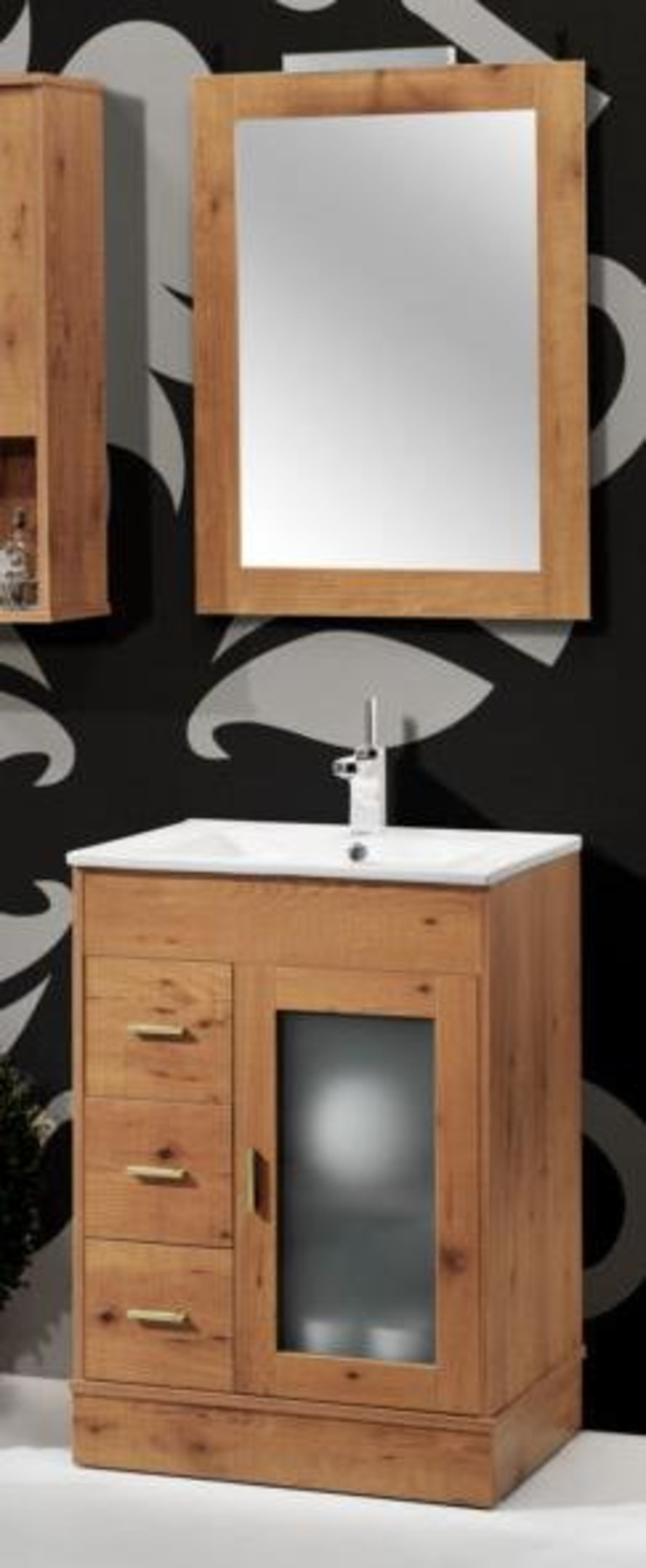 Mueble Volga cerezo de 60 con lavabo loza, espejo y foco