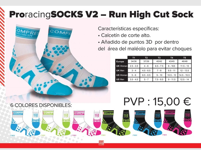 Calcetín tecnico pro racing socks v2 - run High Cut Sock: TIENDA ONLINE de Ortopedia La Fama