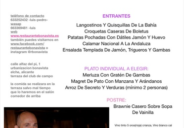 Menú Tarde Vieja 2020 y concierto de pura sangre