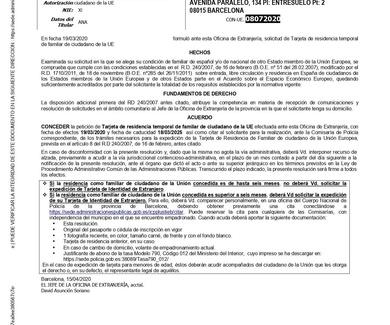 RESOLUCIÓN CONCEDIDA TARJETA FAMILIAR COMUNITARIA TELEMÁTICA