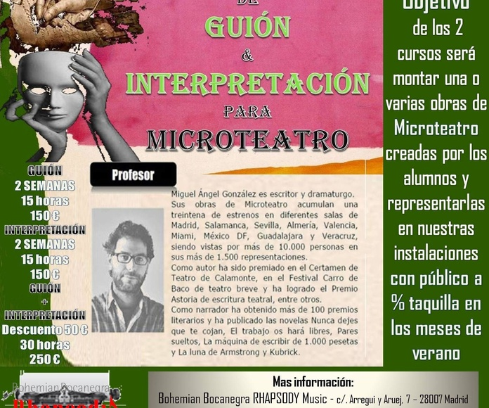 CURSOS INTENSIVOS DE  GUIÓN DE MICROTEATRO Y/O INTERPRETACIÓN PARA MICROTEATRO