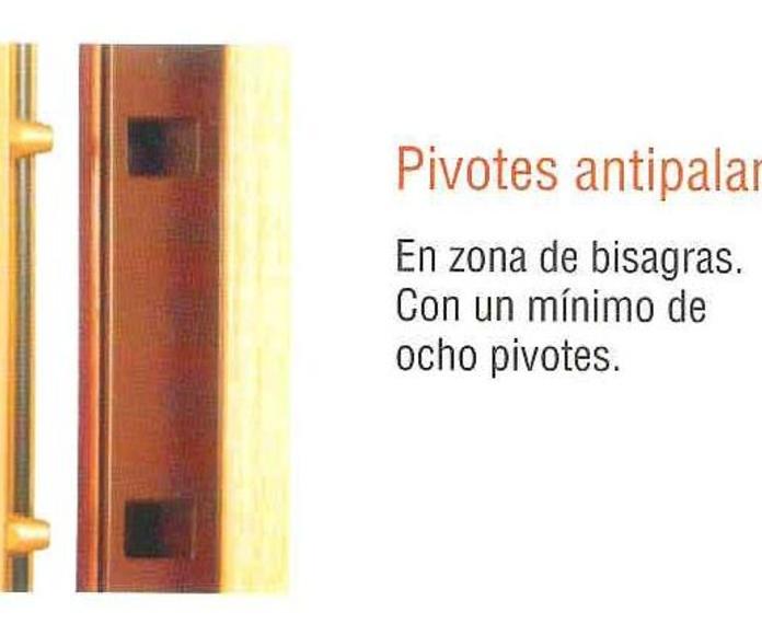 Detalle de pivotes antipalanca de la puerta acorazada KIUSO K100.
