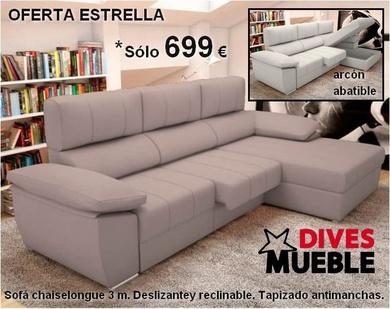 Oferta estrella, sofa chaiselongue 699 €