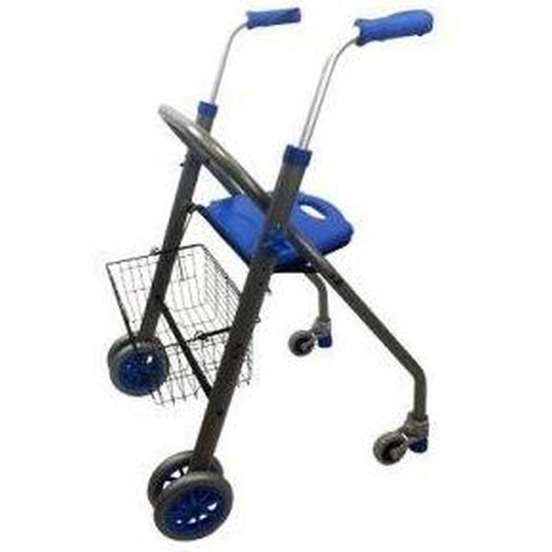 Caminador de aluminio con asiento y cesta Alba.