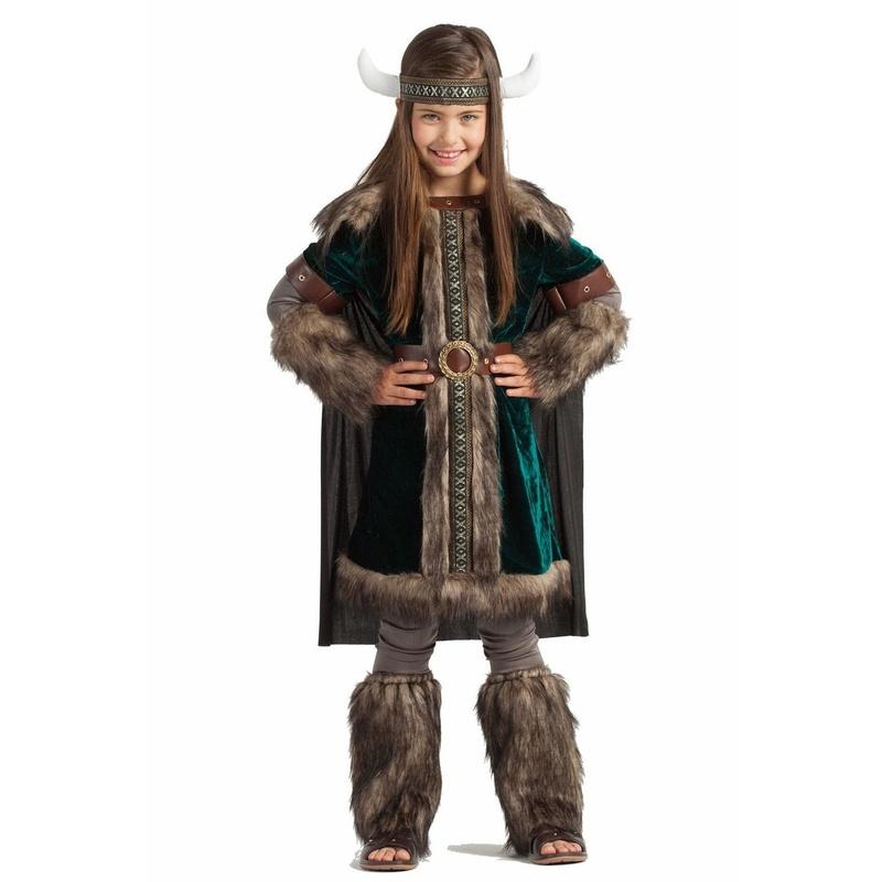 Disfraz vikingo verde niña lujo
