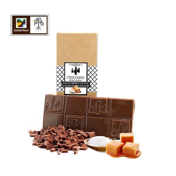 chocolate artesano con leche, caramelo y flor de sal