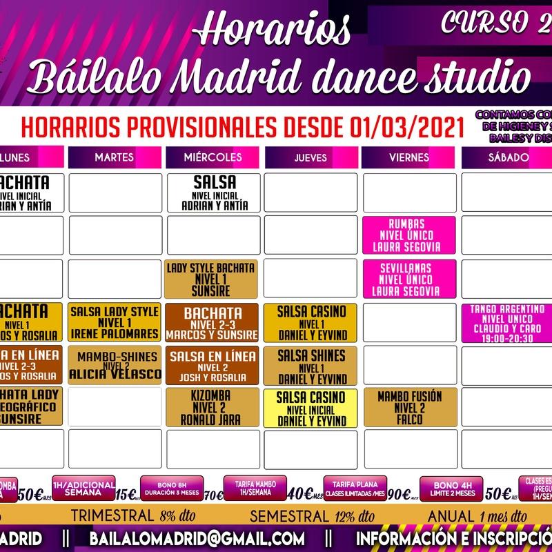 HORARIOS TEMPORALES DESDE MARZO 2021: Clases de Baile Online de Báilalo Madrid