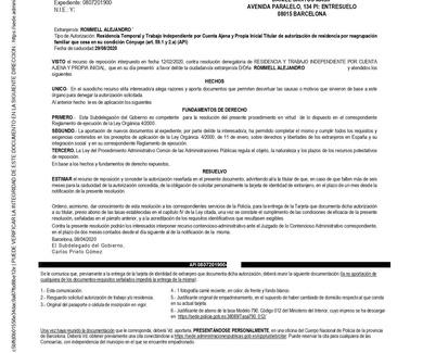 ABOGADO EXTRANJERIA BARCELONA, RECURSO REPOSICIÓN GANADO ANTE LA OFICINA EXTRANJERIA BARCELONA