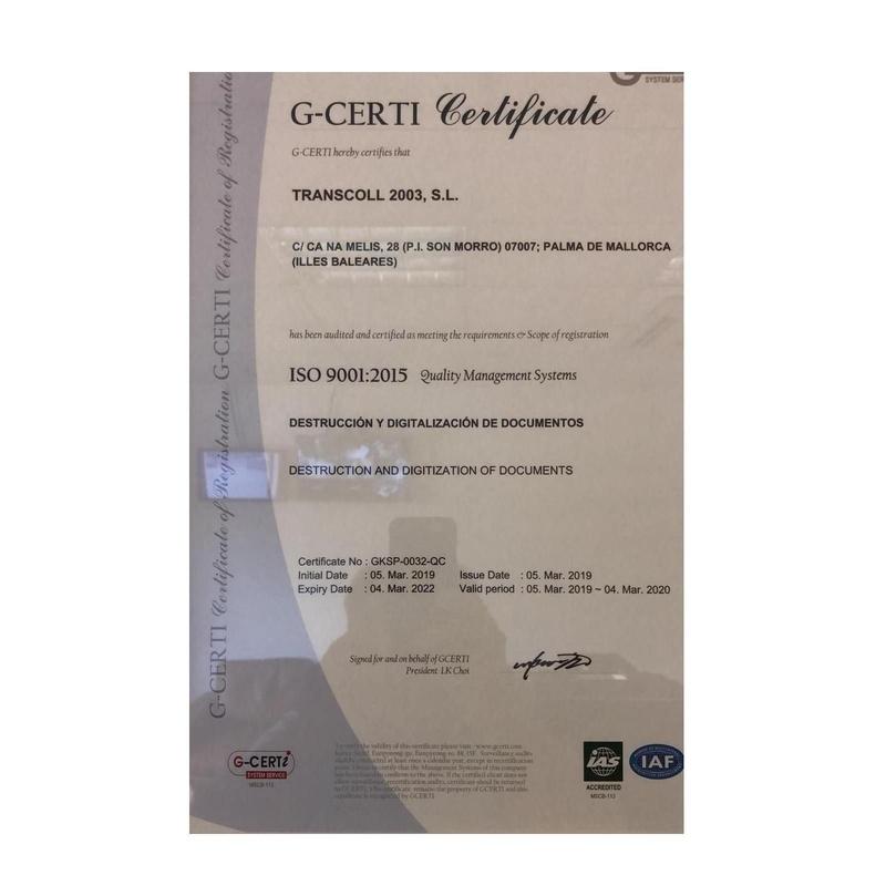 Certificado ISO: Servicios de Transcoll 2003
