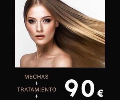 Mechas + tratamiento + peinado 90€