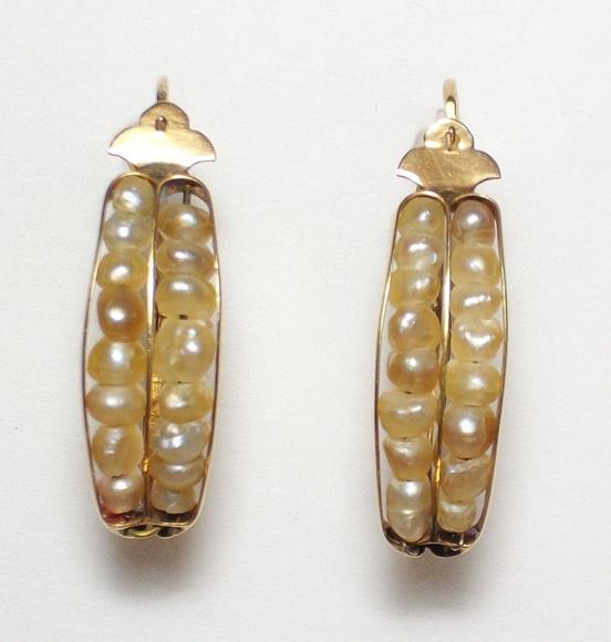 Pendientes de oro amarillo de 18k con perlas naturales. 1900-1920.: Catálogo de Antigua Joyeros