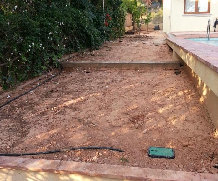 Proyecto paisajismo antes y despues en jardin particular Valencia