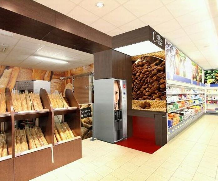 Diseño de corner de café para cadena de supermercados, en Barcelona