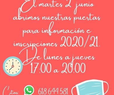 INSCRIPCIONES 2020/21