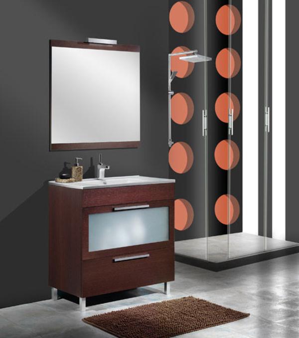 Mueble Duero wengué de 70 con loza extrafino, espejo y foco