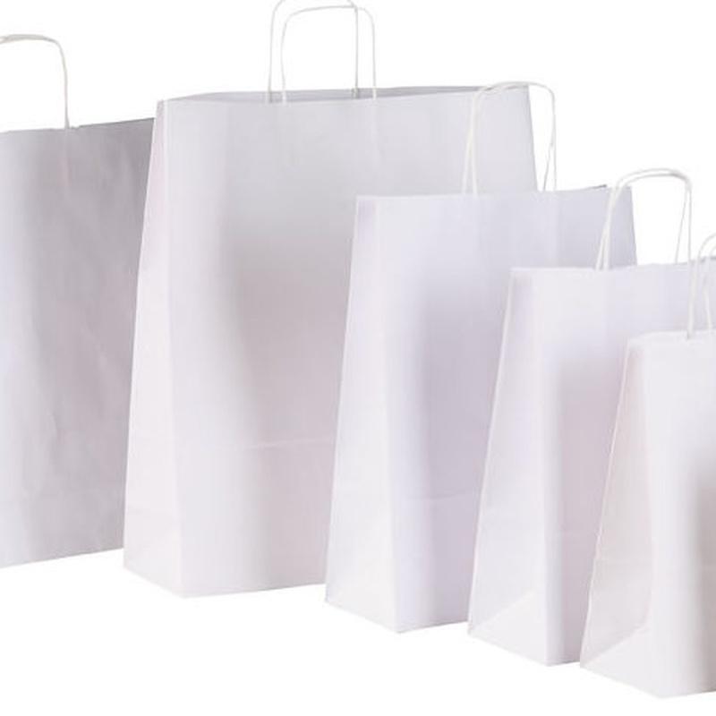 Bolsas de papel asa rizada celulosa blanca.