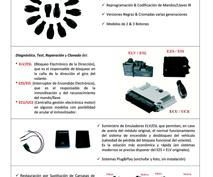 Reparación y Clonado de módulos de control electrónico y llaves mandos Mercedes Benz