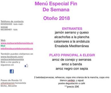 Menu Fin De Semana ¨Otoño 2018¨
