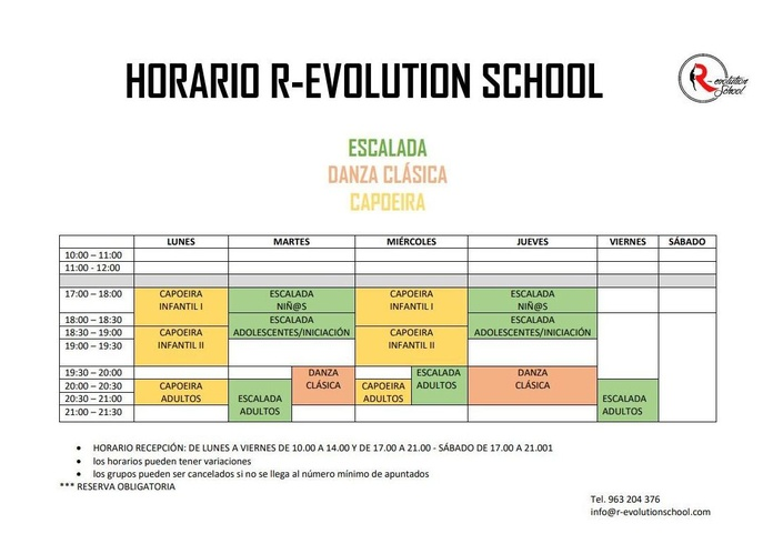 Horarios: Actividades y cursos de R-evolution School