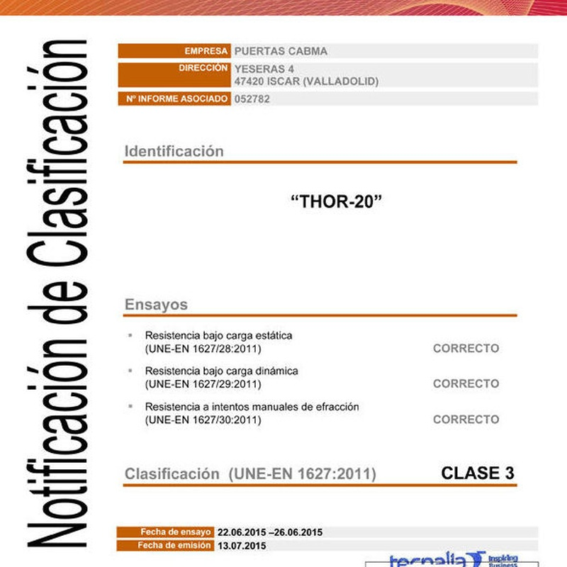 Certificacion de TECNALIA UNE-EN 1627:2011 GRADO3