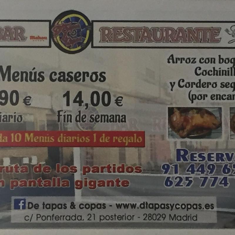 El menú diario: Carta  de D´Tapas & Copas
