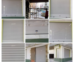 Puertas enrollables de aluminio ciegas lisas y micro perforadas en Cullera