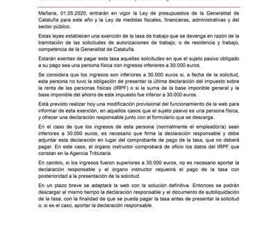 ABOGADO EXTRANJERIA BARCELONA: AHORRATE LA TASA DE TRABAJO DE LA MODIFICACIÓN DE LA GENERALITAT