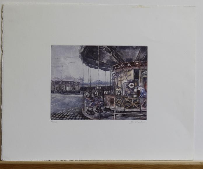 Colección de 6 grabados de carruseles de época
