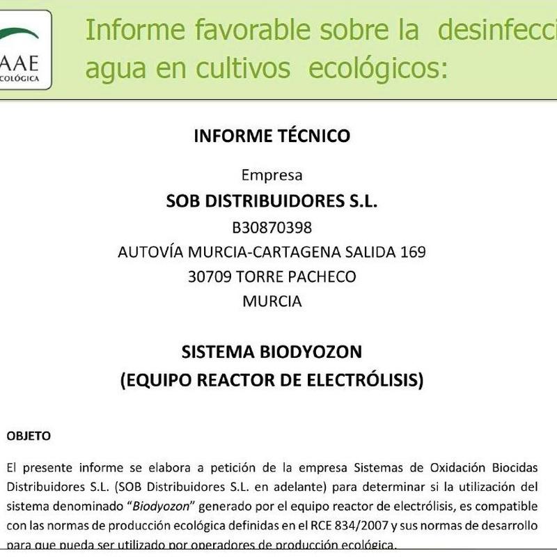 CAAE - informe favorable sobre el uso de Biodyozon en agricultura ecológica: Tratamiento de aguas de SOB Distribuidores