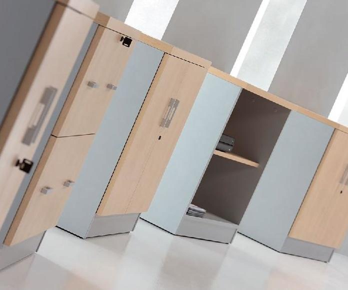 Armarios bajos con puertas y abiertos en combinación