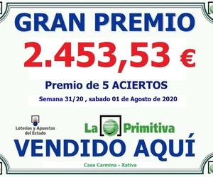Premio 5 Aciertos de la lotería Primitiva del sorteo del sábado 1 de Agosto del 2020.