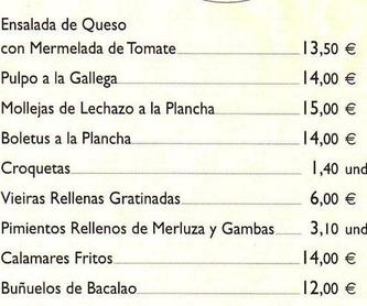PESCADOS: carta de especialidades de Casa Manolo Restaurante