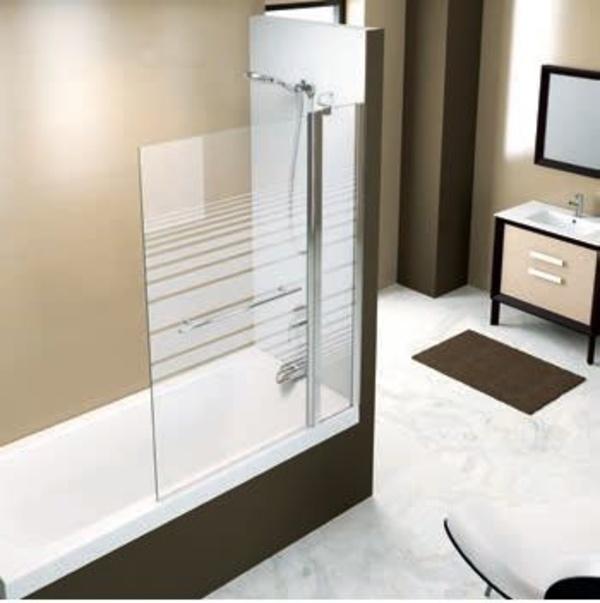 Mampara bañera Brest decorada 1 fijo + 1 abatible