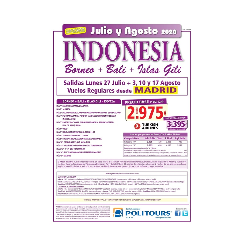 Super oferga a Indonesia. Julio y Agosto 2020: Contrata tu viaje de Viajes Iberplaya