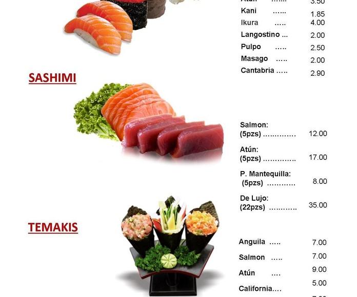 Carta del restaurante: Carta de Yamato Sushi Bar CERRADO PERMANENTEMENTE