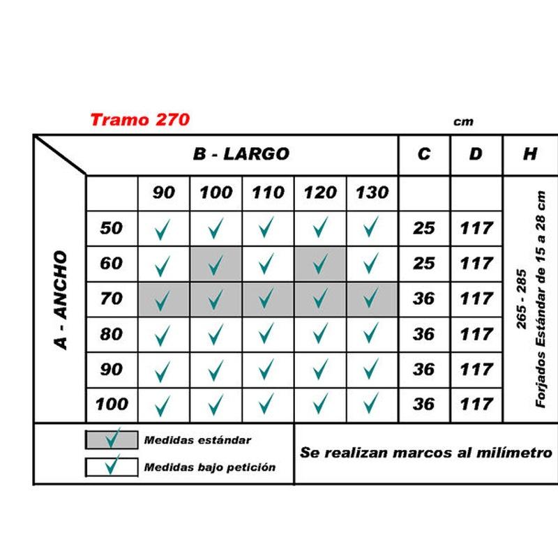 Escalera Tramo tabla de medidas