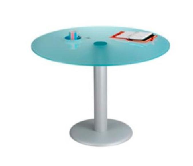 mesa redonda de cristal ácido de 100 cm. de diámetro