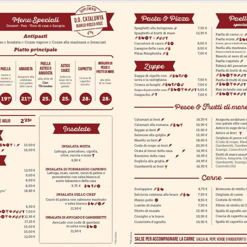 Carta menús especiales en Italiano: Carta y Menús de Cantarradas