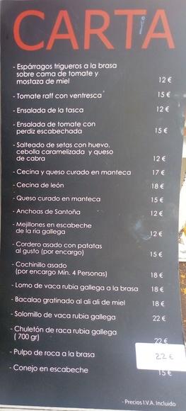 Sugerencias y Carta: Carta y Menús de La Tasca del Chuletón