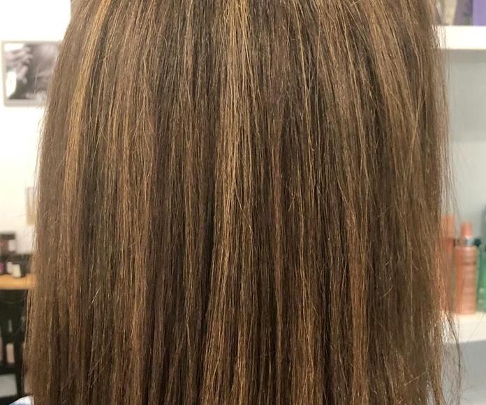 Mechas balayages cabello castaño