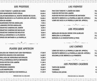 Los Pescados: Carta de Restaurante El Vidueño