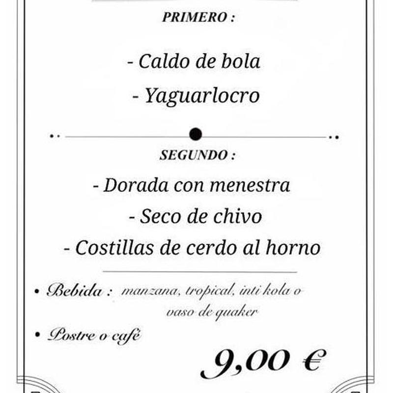Menú de lunes a viernes: Carta de Restaurante Ecuatoriano Los Mesegares