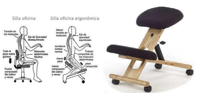 silla ergonómica en color negro y madera haya