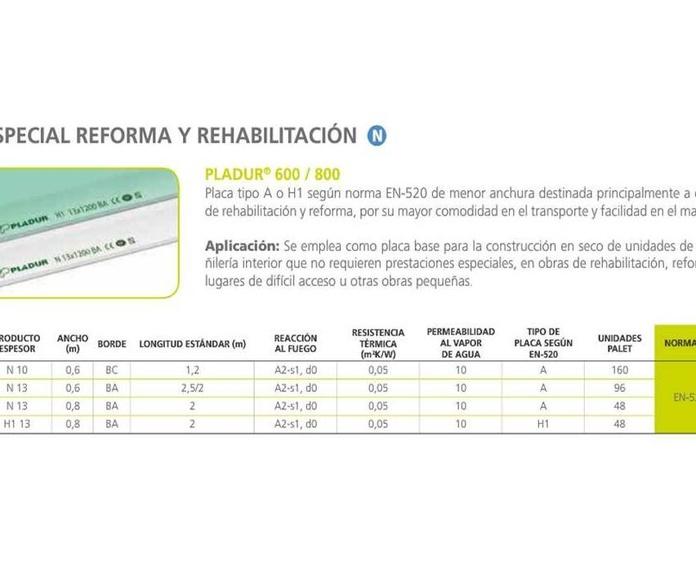 Pladur 600/800: Materiales - Distribuciones de AISLAMIENTOS LORSAN