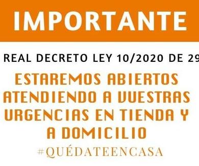 IMPORTANTE: Tras el real decreto ley 10/2020 de 29 de marzo