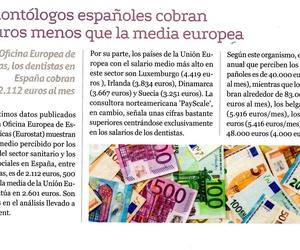 Los dentistas españoles cobran menos que la media europea.
