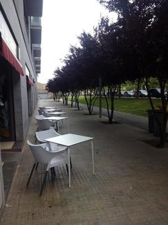 Bonita Terraza Restaurante A la Cazuela con árboles floreciendo